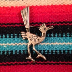 Vintage FJ Navajo Roadrunner Brooch